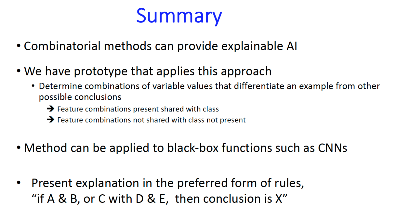 Summary, combinatorial methods and explainable AI
